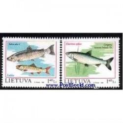 2ع تمبر کتاب قرمز - تمبر  ماهی ها - لیتوانی 1998