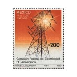 1 عدد تمبر پنجاهمین سالگرد کمیسون برق فدرال - مکزیک 1987