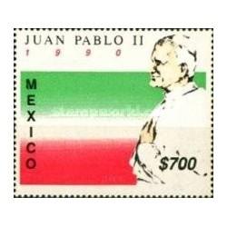 1 عدد تمبر بازدید پاپ - جان پابلو دوم  - مکزیک 1990