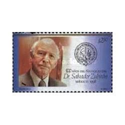 1 عدد تمبر صدمین سالگرد تولد سالوادور زوبیران - برنده جایزه هنر و علوم - مکزیک 1998