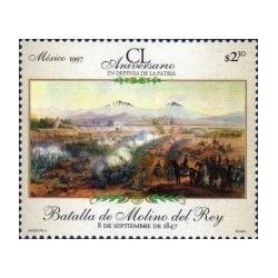 1 عدد تمبر 150مین سالگرد نبردها - تابلو نقاشی - مکزیک 1997