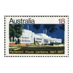 1 عدد تمبر 50مین سالگرد کاخ پارلمان در کانبرا - استرالیا 1977