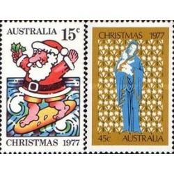 2 عدد تمبر کریستمس - استرالیا 1977