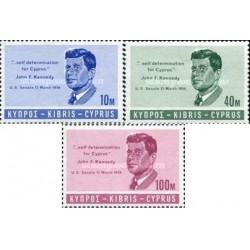 3 عدد تمبر جان اف کندی - قبرس 1965