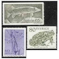3 عدد تمبر  حیوانات - اردک ماهی ، وزغ ، و سنجاقک - سوئد 1979