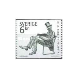 1 عدد تمبر تابلو نلیس فرلین - شاعر و ترانه سرا - سوئد 1983