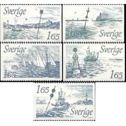 5 عدد تمبر علائم دریائی - سوئد 1982