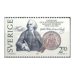 1 عدد تمبر عهدنامه ایالات متحده - تمبر مشترک با آمریکا - سوئد 1983