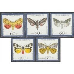 5 عدد تمبر جوانان - پروانه ها  - جمهوری فدرال آلمان 1992 قیمت 11 دلار