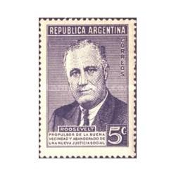 1 عدد تمبر سالگرد مرگ روزولت - سی و دومین رئیس جمهور آمریکا - آرژانتین 1946