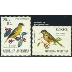 2 عدد تمبر پرندگان - خیریه کودکان - آرژانتین 1972