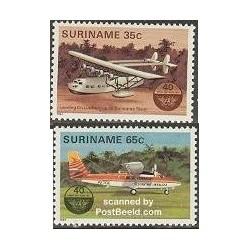 2 عدد تمبر چهلمین سال ایکائو - سازمان بینالمللی هوانوردی کشوری - سورینام 1984