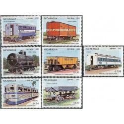 7 عدد تمبر واگنهای راه آهن - نیکاراگوئه 1983