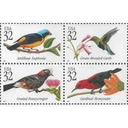 4 عدد تمبر پرندگان گرمسیری - آمریکا 1998